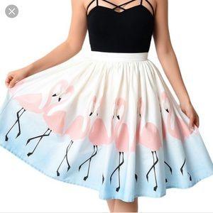 Unique Vintage Flamingo Pleated Full Circle Skirt